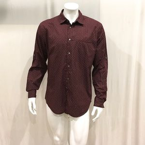 John Varvatos Men's Burgundy Cross Pattern Shirt
